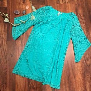 Tacera | Turquoise Blue Lace Dress